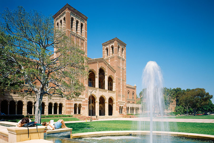 UCLA school building with fountain